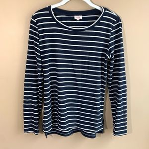 Pixley Navy Striped Elbow Patch Pullover Small